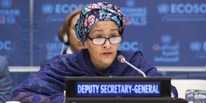 La vice-secrétaire générale des Nations unies, Amina J. Mohammed, lors d' une session du Conseil économique et social.