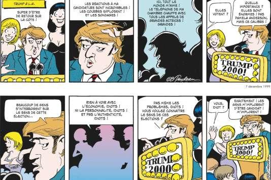 Dans un de ses premiers strips, Trudeau imagine Trump transformer la Maison Blanche en Trump Tower.