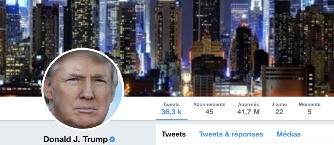Le compte Twitter de Donald Trump, le 3 novembre.