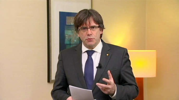 Le président catalan démis, Carles Puigdemont, lors de sa déclaration télévisée à Bruxelles, le 2 novembre.