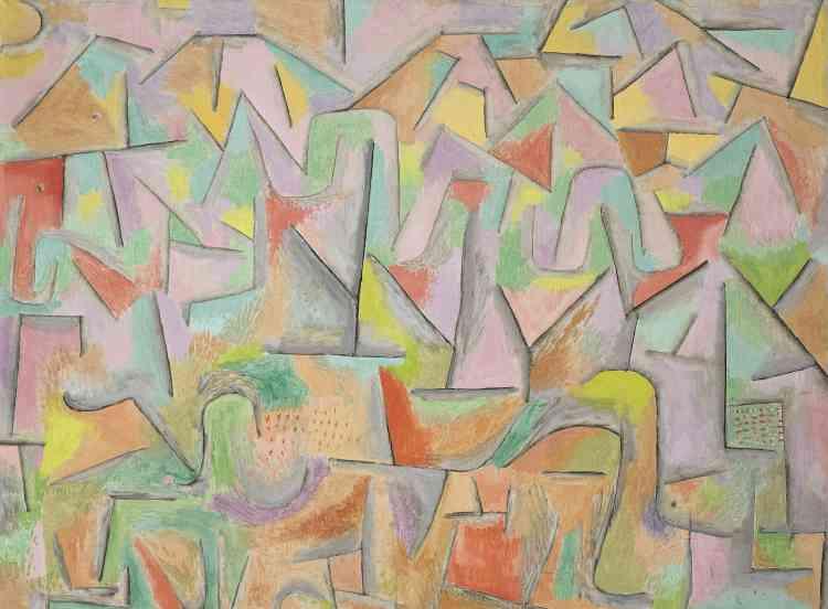 «Les couleurs ici se frottent l'une contre l'autre, cherchant pour ainsi dire à se frayer un chemin à travers le labyrinthe des signes anguleux. En même temps, les taches orange, jaune et verte créent un rythme fascinant. C'est comme si Klee proposait une version abstraite des célèbres sites des carrières de Bibémus et de la Montagne Sainte-Victoire peints par Cézanne.»
