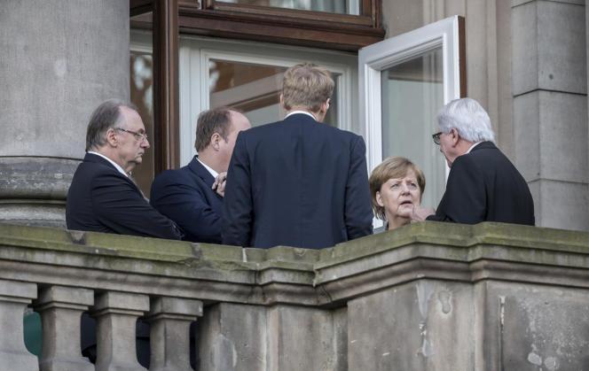 Angela Merkel pendant les « discussions exploratoires» avec la CDU/CSU, le FDP et les Verts, le 3 novembre 2017.
