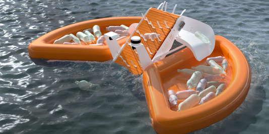 Mis au point par des équipes installées aux Etats-Unis et en Hollande, ce robot récupère les déchets flottants