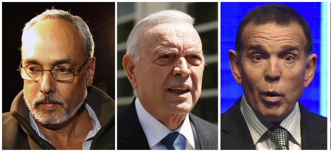 De gauche à droite, le Péruvien Manuel Burga, le Brésilien José Maria Marin et le Paraguayen Juan Angel Napout comparaissent, lundi6novembre, à New York, au procès du «FIFAgate».