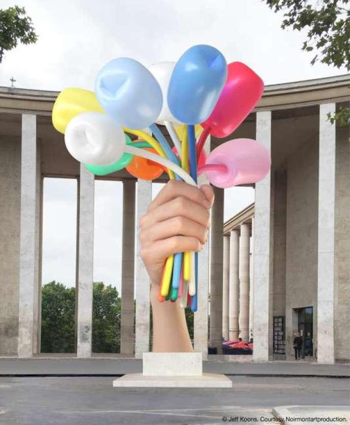 Simulation grandeur nature de l'œuvrede Jeff Koons, « Bouquet of Tulips».