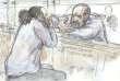 Dessin d'audience représentant Abdelkader Merah et son avocat Eric Dupond-Moretti lors de son procès le 2 novembre.