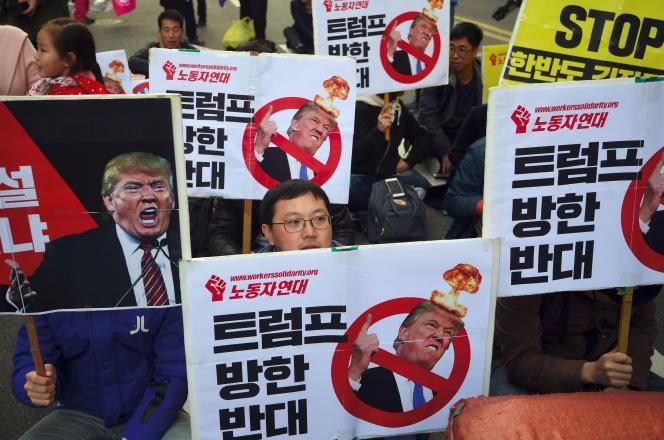 Un rassemblement hostile au président Donald Trump à Séoul, le 4 novembre.