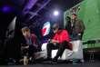 """French Lucas """"DaXe"""" Cuillerier, de PSG Esports Team contre German Florian Muller """"Cody"""", du FC Basel, en finale de l'ESWC Fifa 18 Challenge, à la Paris Games Week."""