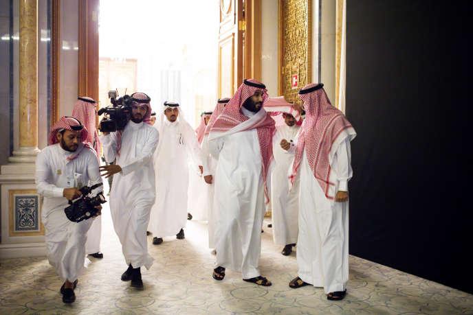 Le prince héritier saoudien, Mohammed Ben Salman (au centre), le 24 octobre, à Riyad.