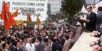 François Mitterrand, le 21 octobre 1981, à Mexico.