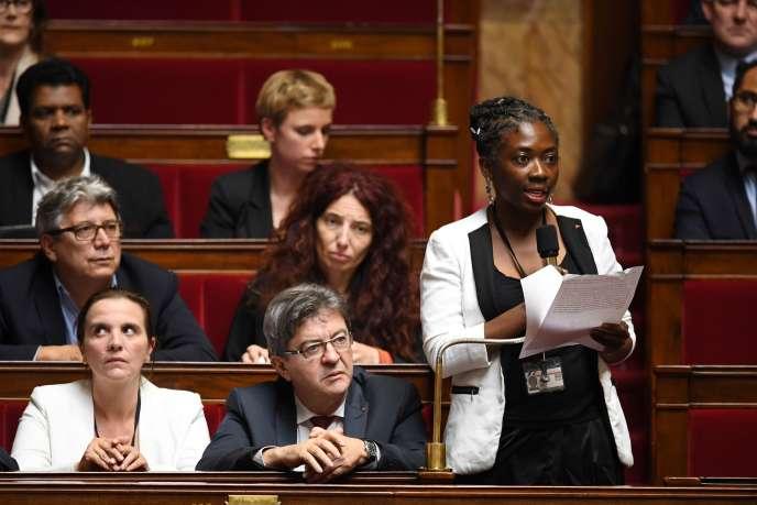 La députée (La France insoumise) de Paris, Danièle Obono, à l'Assemblée nationale le 24octobre.