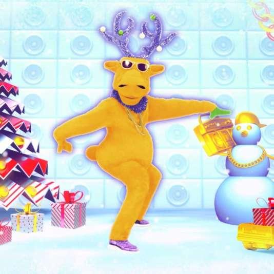 Un cerf bipède à boules de Noël bouge son boule dans «Just Dance» sur Wii.