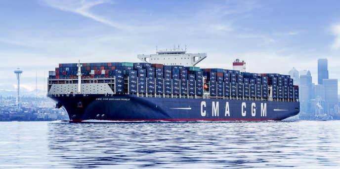 Le «Benjamin Franklin» au départ de Seattle, en mars 2016. Les neufs porte-conteneurs géants dont CMA CGM vient de passer commande et qui seront livrés en 2020 utiliseront eux le gaz naturel liquéfié.