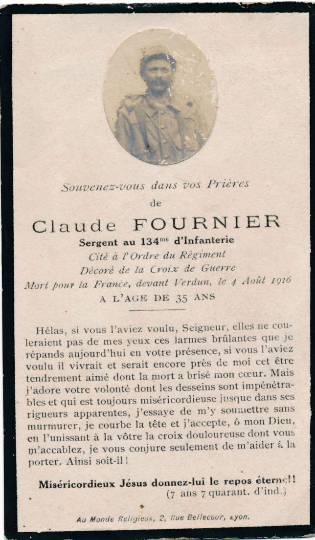 Faire-part de décès du sergent Claude Fournier, tombé au combat le 4 août 1916.