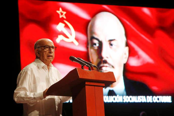 José Ramon Machado Ventura, vice-président cubain, lors de la célébration du centenaire de la Révolution russe, à La Havane, Cuba, novembre 2017.