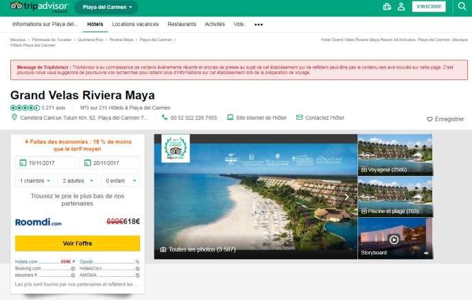 Un nouveau message peut désormais s'afficher sur les pages de TripAdvisor.