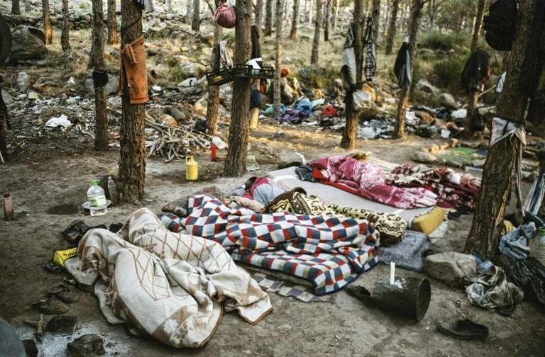 Un campement de migrants dans la forêt du mont Gourougou, au Maroc en 2014.