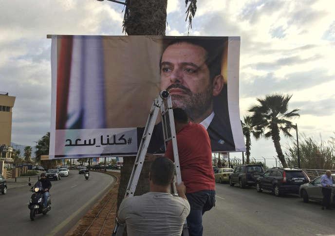 Affiches montrant l'ex-premier ministre libanais Saad Hariri, frappées du slogan« Nous sommes tous Saad », à Beyrouth, le 9novembre.