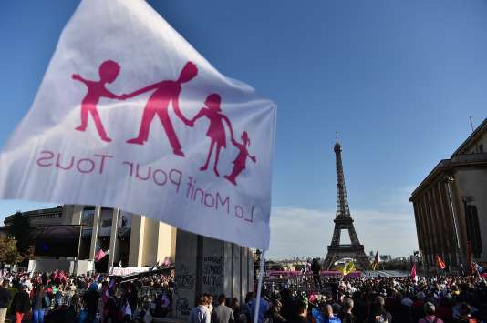 Manifestation du mouvement La Manif pour tous au Trocadero, le 16 octobre 2016.