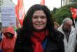 Raquel Garrido lors d'une manifestation syndicale en Bretagne, en novembre 2013.