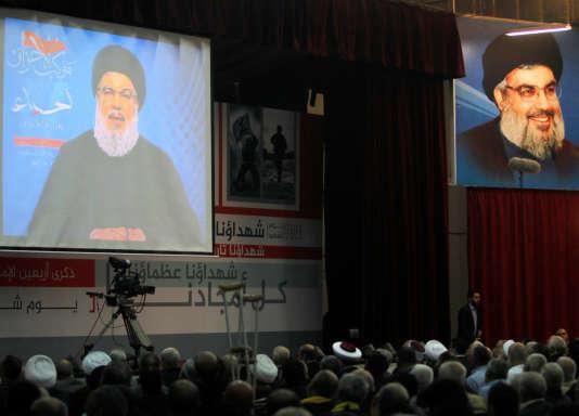 Le chef du Hezbollah, Hassan Nasrallah, s'adresse à ses partisans, à Beyrouth, le 10 novembre.
