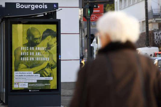 La campagne de prévention du sida du ministère de la santé avait été interdite par un arrêté du maire à Aulnay-sous-Bois en 2016. L'une des affiches de la campagne, à Rennes.