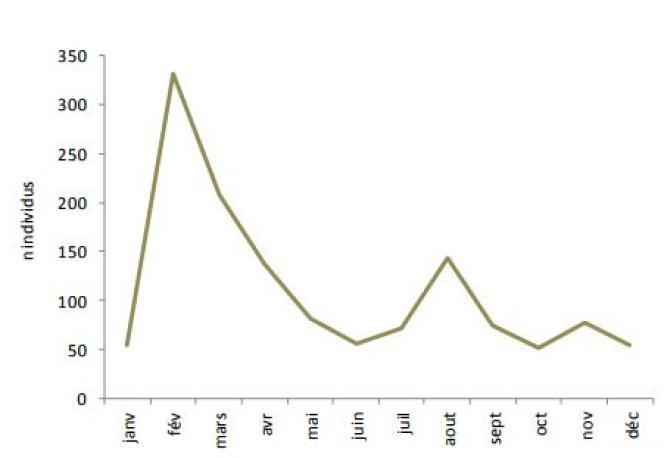 Distribution intra-annuelle des échouages des 1 342 cétacés sur l'ensemble du littoral en 2016.