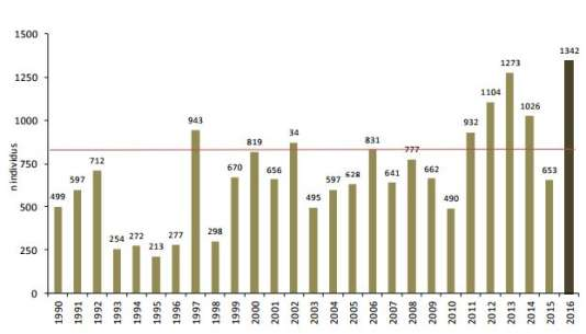Distribution annuelle des effectifs d'échouages de cétacés sur le littoral français de 1990 à 2016 (18533 au total).