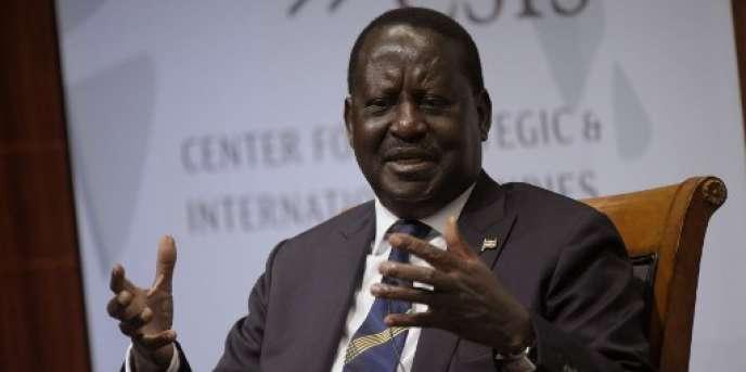 Le chef de l'opposition kényane Raila Odinga au Center for Strategic and International Studies, à Washington, le 9 novembre 2017.