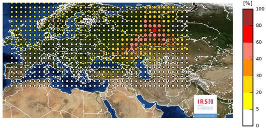 La zone de rejet la plus plausible se situe entre la Volga et l'Oural (en rouge sur la carte). L'échelle de couleur va du plus probable (rouge) au moins probable (blanc).