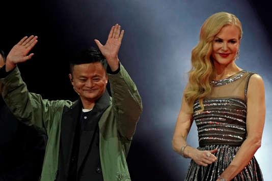 Jack Ma, président d'Alibaba Group, et l'actrice Nicole Kidman à l'occasion du« jour des célibataires», le 11 novembre 2017.
