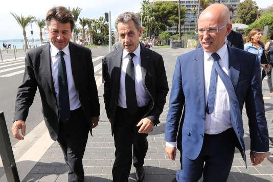 Christian Estrosi,Nicolas Sarkozy et Eric Ciotti, à Nice le 17 septembre 2016.