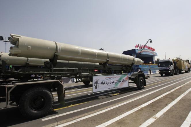Un missile Qiam pendant une parade militaire à Téhéran, en 2012.