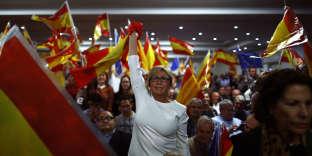 Pendant un discours de Mariano Rajoy, à Barcelone, le 12 novembre 2017.