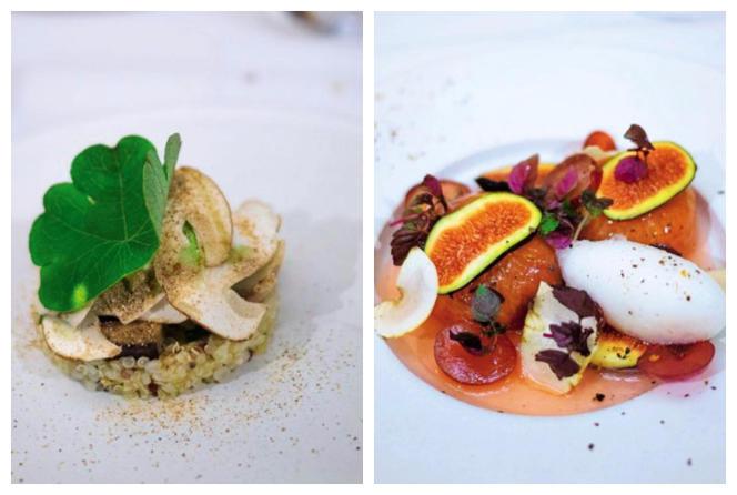Cèpes des Vosges, quinoa et salicornes ; compote de figues noires, sorbet poivre Timut.