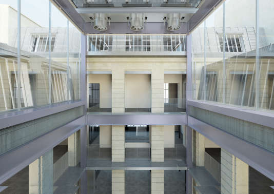 Vue intérieure (image de synthèse) du futur espace Lafayette Anticipations dans le Marais à Paris.