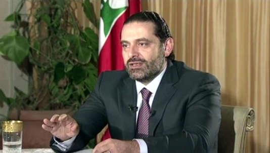 Le premier ministre libanais, Saad Hariri, lors de son intervention télévisée, le12novembre.