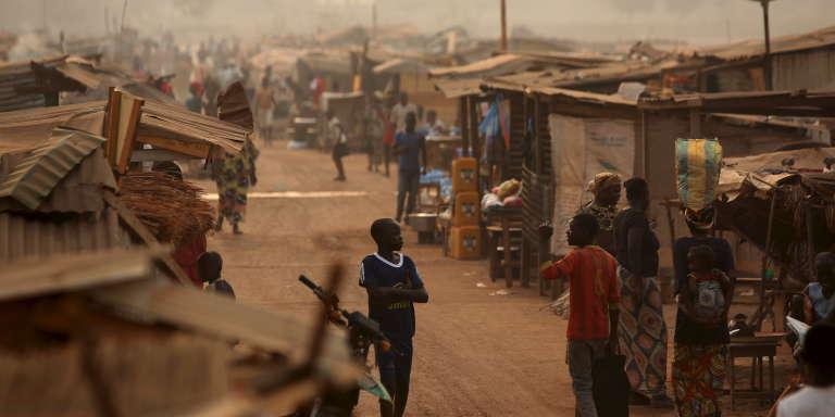 Un camp de personnes déplacées à Bangui, en février 2016.