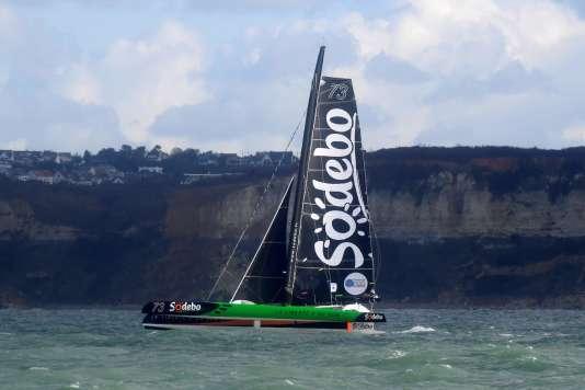 Le maxi-trimaran Sodébo Ultim' sur lequel Jean-Luc Nelias et Thomas Covilleont remporté la Transat Jacques-Vabre en moins de huit jours.