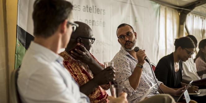 Dominic Thomas, Achille Mbembe, Mehdi Alioua et Nadia Yala Kisukidi auxAteliers de la pensée, à Dakar, le 2novembre 2017.