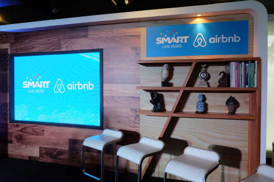 Au siège d'Airbnb, en 2015.
