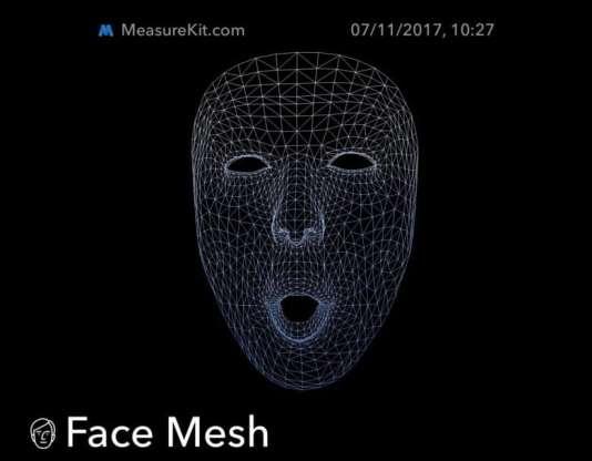Voici comment Face ID voit le visage de son propriétaire. Cette capture d'écran provient de l'outil Face Mesh, fourni aux développeurs dans le MeasureKit d'Apple.