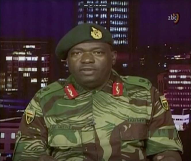 Déclaration du général SB Moyo, des forces de défense zimbabwéennes, lors d'une déclaration sur la la télévision d'Etat, le 15 novembre.