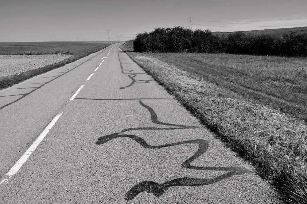 «Calligraphies sur une route de l'Oise.»Pierre DELAITRE