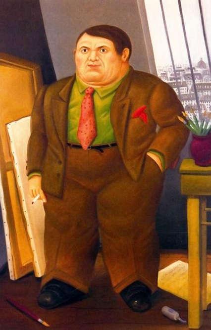 A la différence de Picasso, Botero a réalisé très peu de portraits. Ses personnages sont le plus souvent issus de son imagination, car, selon et pour lui, la subjectivité et la poésie sont les conditions indispensables d'une œuvre sincère et authentique. Ainsi, dans ce portrait imaginaire de Picasso, il rend hommage à l'artiste qu'il a longtemps observé et étudié. Botero l'imagine en costume, dans son atelier parisien. Sa figure massive, dans ce petit espace encombré par les toiles et les outils du peintre met en exergue la présence imposante de sa personnalité artistique.