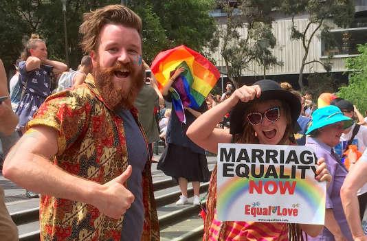 Réaction de joie des partisans du mariage gay, à Melbourne, le 15 novembre.