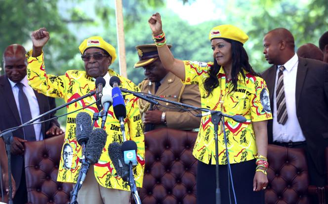 Robert et Grace Mugabe le 8 novembre 2017.