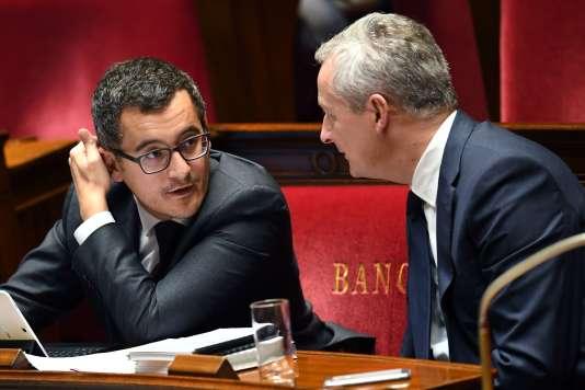 Les ministres des comptes publics, Gérald Darmanin, et de l'économie, Bruno Le Maire, le 24 octobre à l'Assemblée nationale.