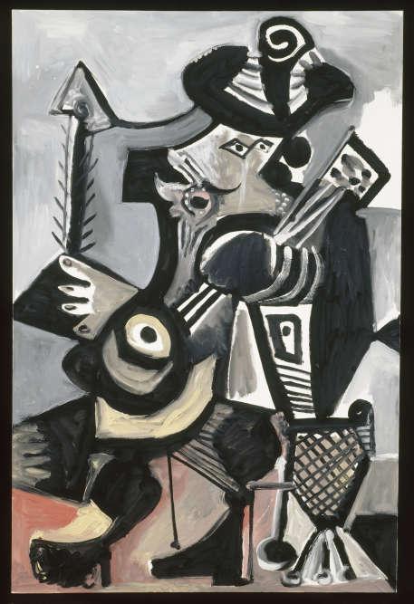 La musique, comme la corrida, fait partie des loisirs de la Malaga natale de Picasso. Dans son œuvre, elle se traduit par des scènes de danse ou de concert mais aussi par la multiplication des instruments de musique, comme le violon ou la guitare. Avec cette peinture, la guitare devient l'attribut de son nouveau sujet de prédilection, le personnage du mousquetaire.