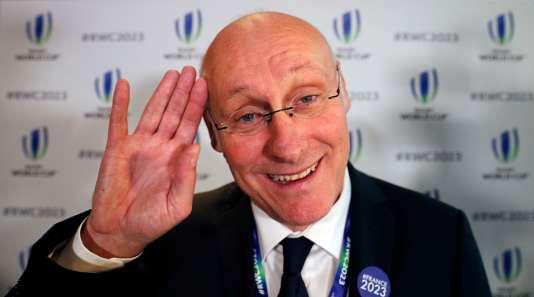 Bernard Laporte, le 15novembre à Londres, après la nomination de la France comme hôte du Mondial de rugby2023.